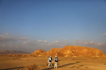 Israeli scientists participate in an experiment simulating a mission to Mars, at the D-MARS Desert Mars Analog Ramon Station project of Israel's Space Agency, Ministry of Science, near Mitzpe Ramon, Israel, February 18, 2018. REUTERS/Ronen Zvulun