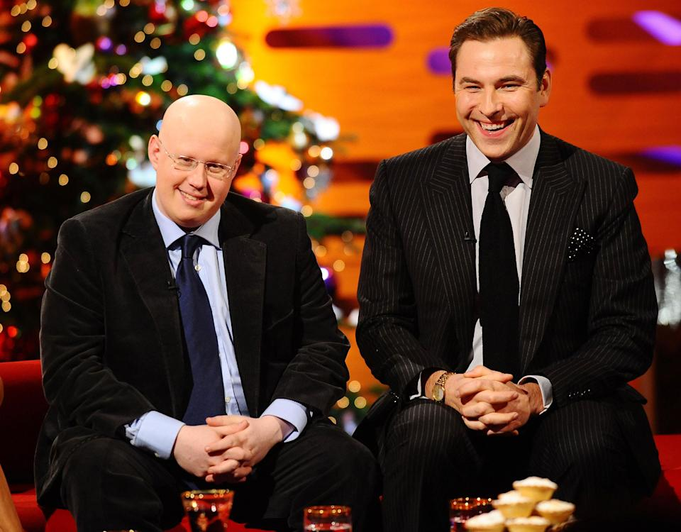 Embargoed to 0001 Thursday December 23. Matt Lucas and David Walliams appear on The Graham Norton show at the London Studios.