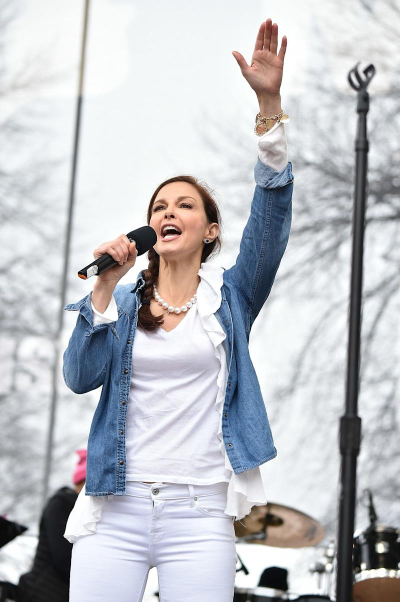 Ashley Judd attends the Women's March on Washington, DC.