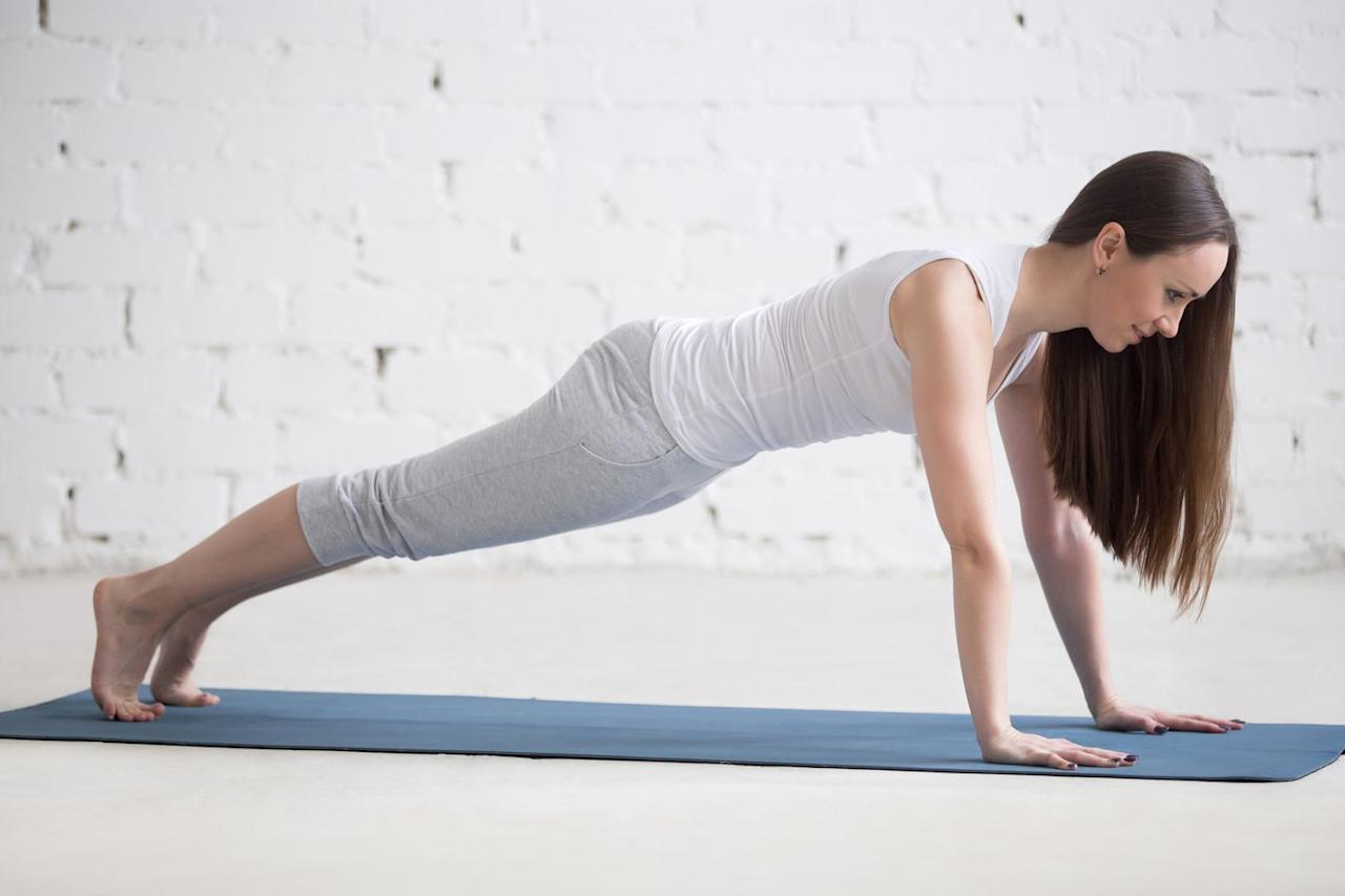 """<p>This pose burns mega calories because it requires major muscle groups to be engaged, including your abs, shoulders, and glutes, while forcing your body to resist gravity. """"You can increase the calorie burn further with variations like raising one foot an inch or two off of the mat,"""" says Ingber. The longer you stay in the pose-anywhere from 30 seconds to five minutes-the harder it is.<br><br><strong>How to: </strong>Get into tabletop position by planting your hands shoulder-distance apart in front of you. Make sure your shoulders are directly over your wrists, then jump your feet back and ground your toes into the floor. Squeeze your glutes and core and make sure they stay lifted so your body forms a straight line from your head to your feet. Keep your neck in a neutral position by staring at a spot on the floor in front of you. Hold for three to five breaths.</p>"""