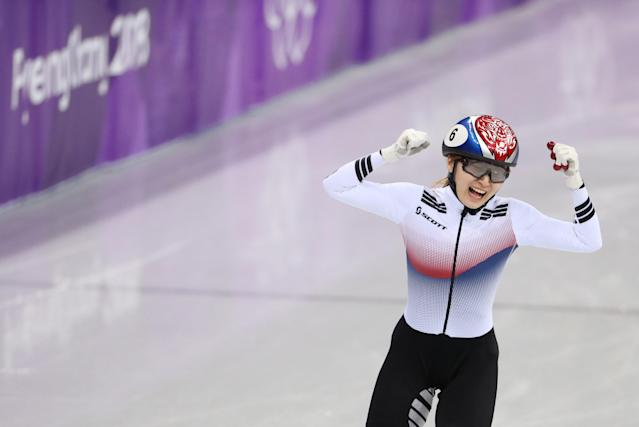 Short Track Speed Skating Events - Pyeongchang 2018 Winter Olympics - Women's 1500m Final - Gangneung Ice Arena - Gangneung, South Korea - February 17, 2018 - Choi Min-jeong of South Korea celebrates as she crosses the finish line to win gold. REUTERS/Lucy Nicholson TPX IMAGES OF THE DAY