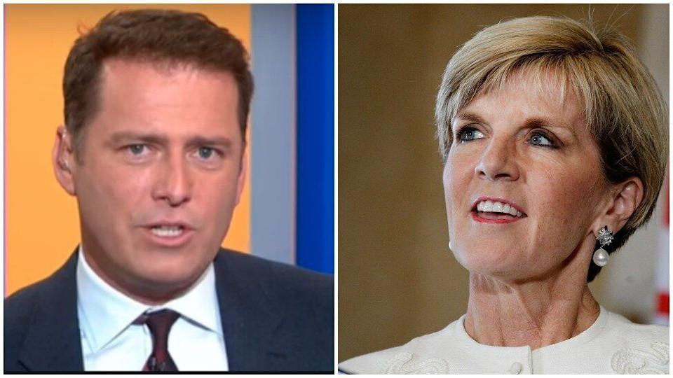 Julie Bishop and Karl Stefanovic are engaged in a new 'battle'. Photo: Channel Nine/Getty Images