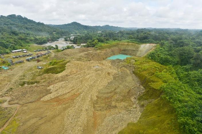 An illegal gold mine set up by an organised armed group on the Timbiqui River in Colombia (AFP Photo/Luis Robayo)