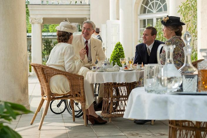 Production designer Jette Lehmann re-created President Roosevelt's home, Springwood Estate in Hyde Park, New York. Seen here are the president (Kyle MacLachlan) and his wife Eleanor (Harriet Sansom Harris) with Crown Prince Olav (Tobias Santelmann) and Crown Princess Märtha (Sonia Helin).