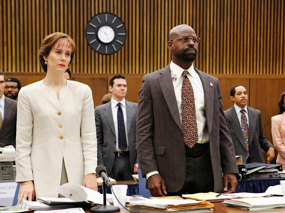 <p>Paulson received an Emmy and a Golden Globe for her tender portrayal as Marcia Clarke</p>Netflix