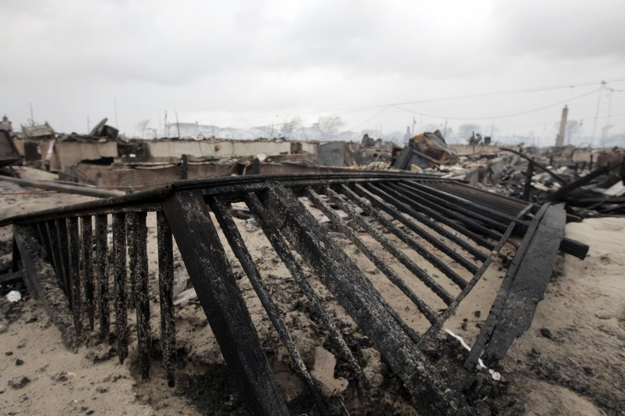 Damage caused by a fire at Breezy Point is shown Tuesday, Oct. 30, 2012, in New York. The fire destroyed between 80 and 100 houses in the flooded neighborhood. More than 190 firefighters have contained the six-alarm blaze fire in the Breezy Point section, but they are still putting out some pockets of fire. (AP Photo/Frank Franklin II)