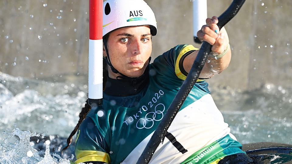 Jessica Fox, pictured here in the women's kayak heat run at the Tokyo Olympics.