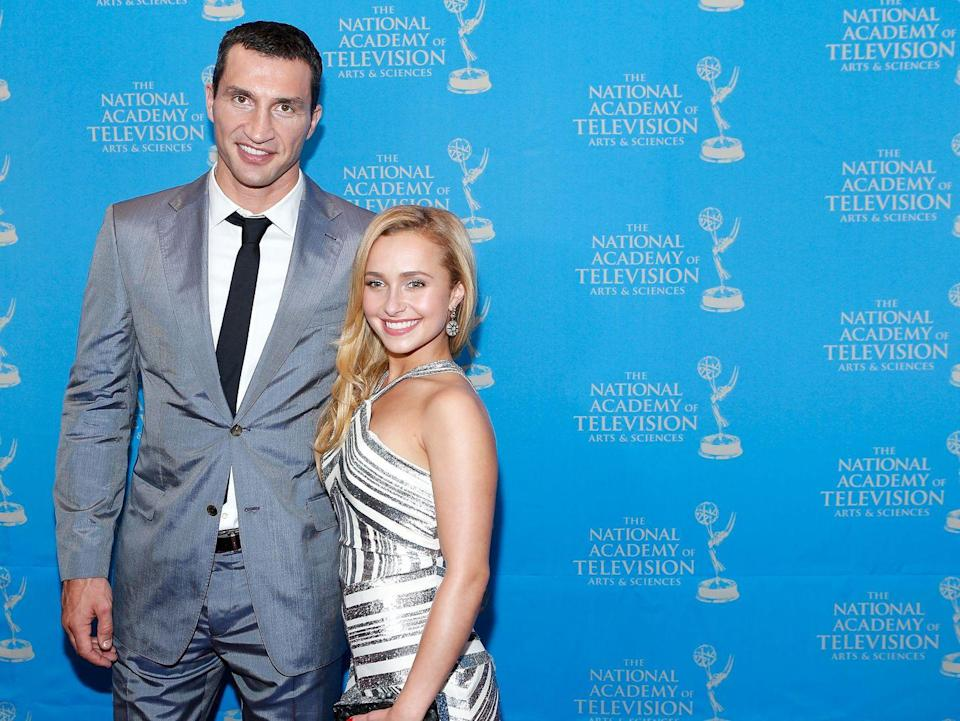 "<p>Though they ended their nine-year relationship in 2018, Hayden Panettiere and boxer Wladimir Klitschko were definitely in love. Their love story began in 2009, and after years of on-again, off-again, they got engaged in 2013. They welcomed their daughter in 2014 and are now <a href=""https://people.com/tv/hayden-panettiere-knows-daughter-better-off-ukraine/"" rel=""nofollow noopener"" target=""_blank"" data-ylk=""slk:co-parenting"" class=""link rapid-noclick-resp"">co-parenting</a> while Kaya primarily lives with Wladimir.</p>"