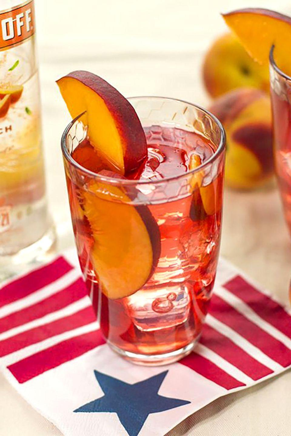 "<p><strong>Ingredients:</strong><br></p><p>1.5 cups Smirnoff® Peach</p><p>3 cups White Cranberry Juice</p><p>1/4 cup Lemon Juice</p><p>Fresh Peaches</p><p><strong>Directions:</strong></p><p>Mix in a pitcher. Enjoy.</p><p><em>Courtesy of <a href=""http://www.smirnoff.com/en-us/"" rel=""nofollow noopener"" target=""_blank"" data-ylk=""slk:Smirnoff Vodka"" class=""link rapid-noclick-resp"">Smirnoff Vodka</a></em></p>"