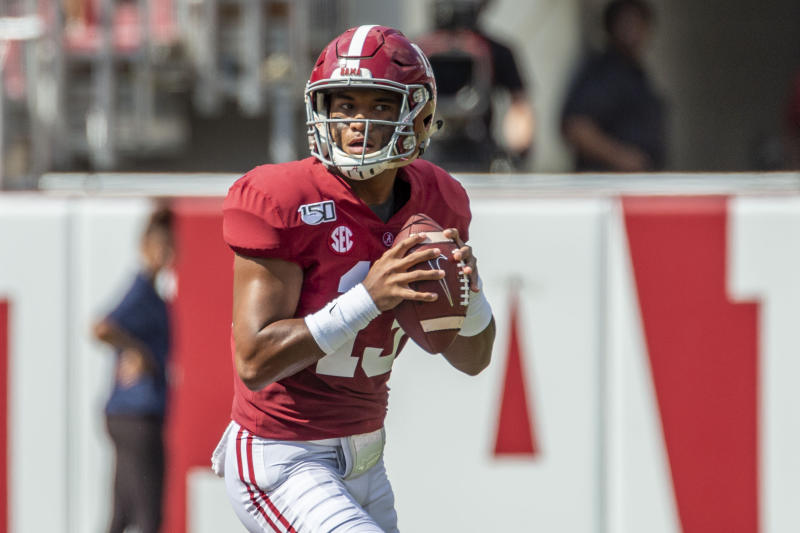Tagovailoa threw for a career-high 444 yards and five touchdowns in the Crimson Tide's win against South Carolina.