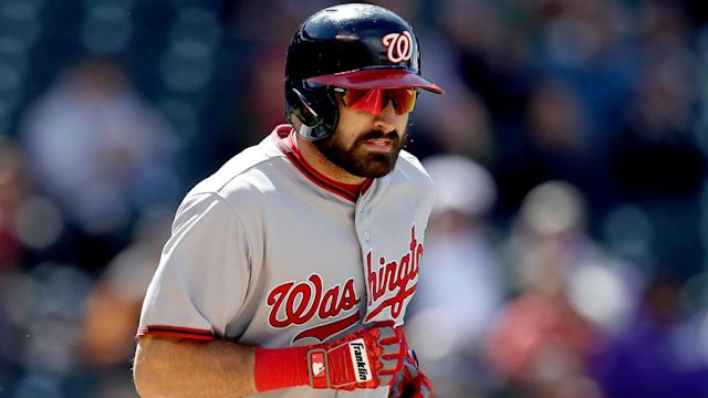 Adam Eaton left Friday's game against the Mets after going down in a heap trying to beat out an infield hit.