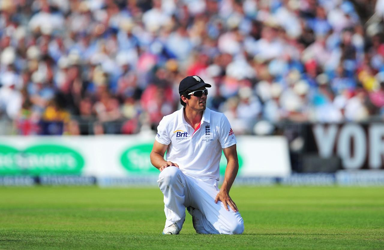 MANCHESTER, ENGLAND - AUGUST 01: Alastair Cook of England looks on in the field during day one of the 3rd Investec Ashes Test match between England and Australia at Old Trafford Cricket Ground on August 1, 2013 in Manchester, England. (Photo by Stu Forster/Getty Images)