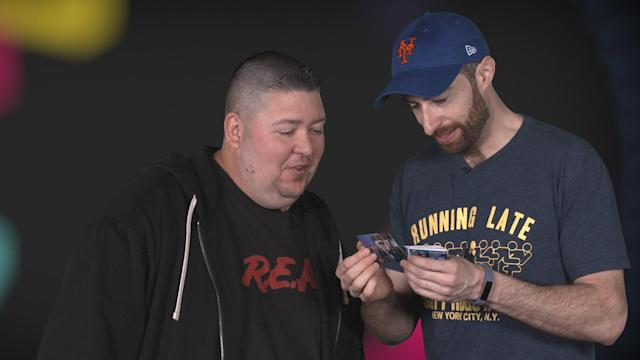 Scott Rogowsky, host of 'HQ Trivia' and 'Running Late with Scott Rogowsky', joins Yahoo Sports' Mike Oz to open a pack of 1996 Topps Stadium Club baseball cards.