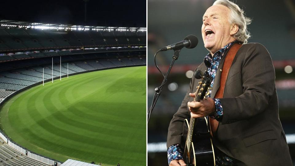 Mike Brady, pictured here singing 'Up There Cazaly' at an empty MCG.