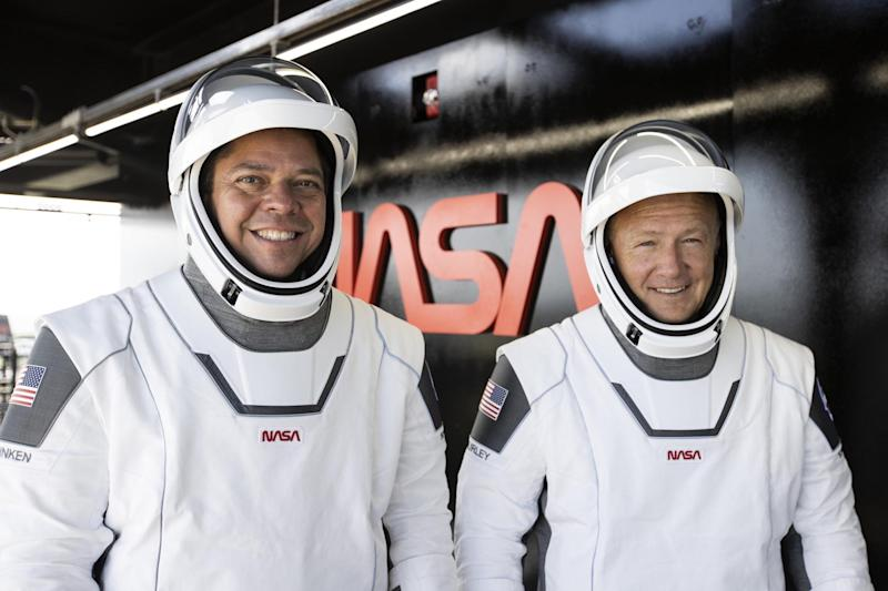 Nasa-SpaceX astronauts Bob Behnken, left, and Doug Hurley are hoping for a turn of luck (SpaceX)