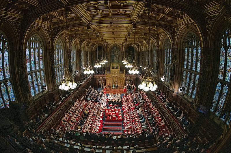 General view of the State Opening of Parliament, in the House of Lords at the Palace of Westminster in London with Queen Elizabeth II, and Prince Charles in attendance.