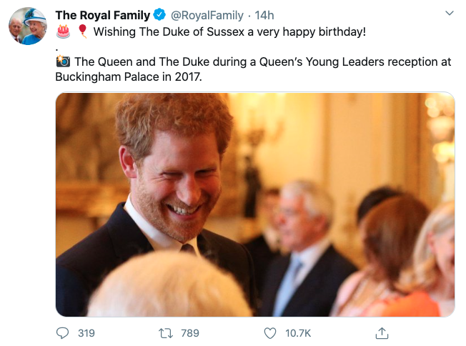 Prince Harry in tribute birthday on Royal Family Twitter