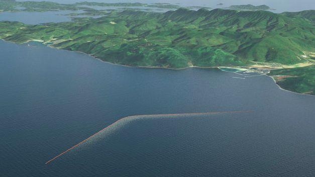 A mock-up of the Ocean Cleanup's ocean barrier that hopes to clean up the world's seas. (Photo: Credit: The Ocean Cleanup)