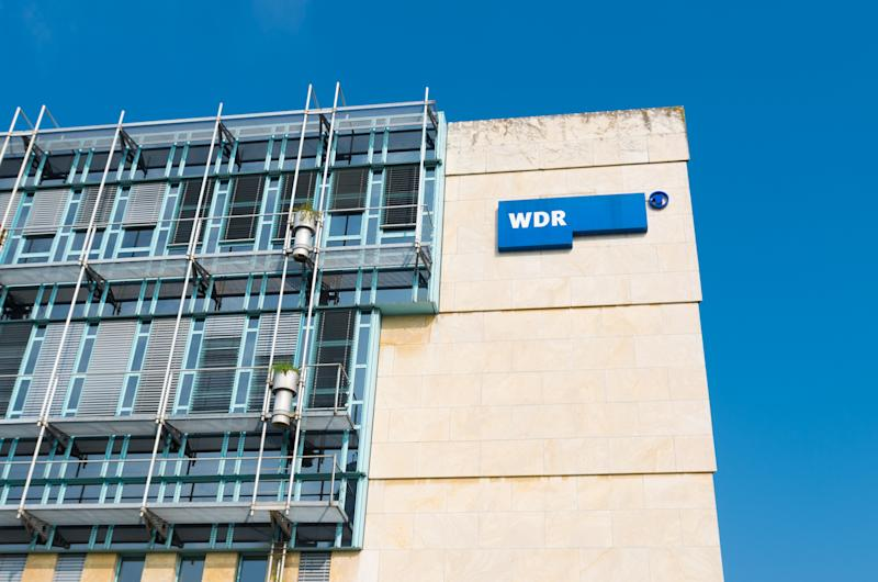 Dusseldorf, Germany - September 6, 2014: exterior of the West German Broadcasting building. WDR is politically neutral and makes programs in every area except religious.