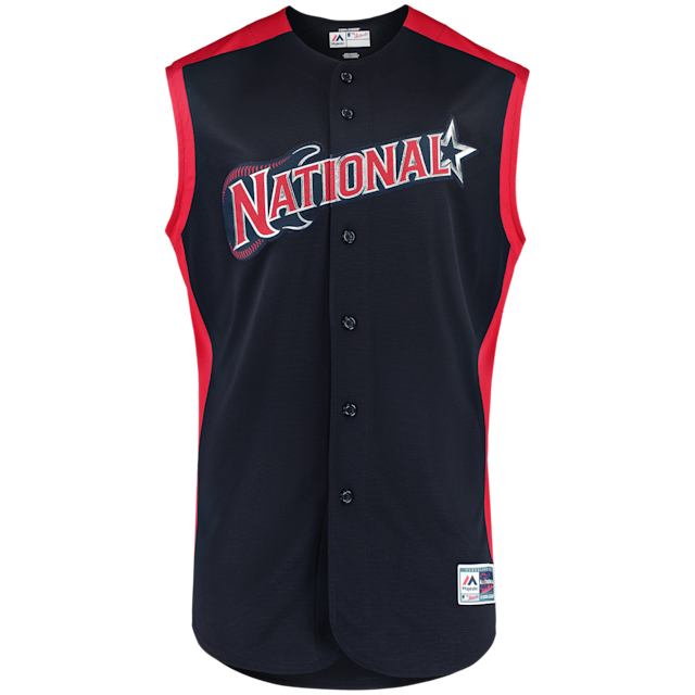 The jerseys, caps and socks that top prospects will wear for the 2019 SiriusXM All-Star Futures Game and that MLB All-Stars will wear on Gatorade All-Star Workout Day, celebrate the host city of Cleveland. For the first time since the 2000 Home Run Derby, players will sport a sleeveless, vest-styled jersey in navy or red, depending on league affiliation.