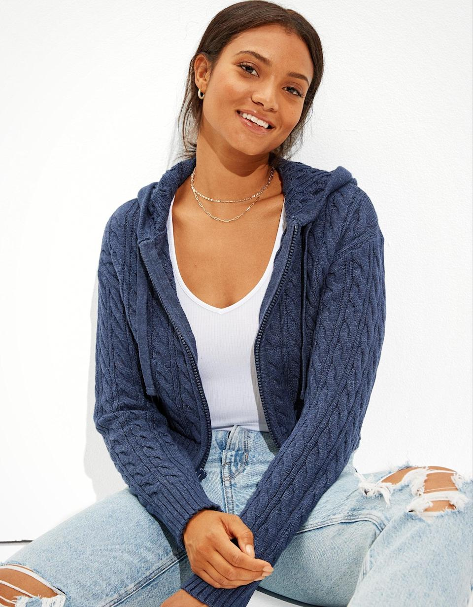 <p>This <span>AE Cropped Cable Knit Zip-Up Sweater</span> ($50) pairs well with days spent lounging at home. But if you have to go out, you can also grab it for a layer that'll be sure to keep you warm.</p>