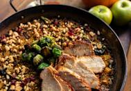"""<p>Typically made with seafood or chicken, paella can also benefit from <a href=""""https://www.thedailymeal.com/cook/turkey-roasting-carving-tips?referrer=yahoo&category=beauty_food&include_utm=1&utm_medium=referral&utm_source=yahoo&utm_campaign=feed"""" rel=""""nofollow noopener"""" target=""""_blank"""" data-ylk=""""slk:perfectly cooked and carved turkey"""" class=""""link rapid-noclick-resp"""">perfectly cooked and carved turkey</a>. Flavor yours with an apple sofrito made of apples, fennel and mushrooms. </p> <p><a href=""""https://www.thedailymeal.com/recipes/leftover-turkey-paella-recipe?referrer=yahoo&category=beauty_food&include_utm=1&utm_medium=referral&utm_source=yahoo&utm_campaign=feed"""" rel=""""nofollow noopener"""" target=""""_blank"""" data-ylk=""""slk:For the Leftover Turkey Paella recipe, click here."""" class=""""link rapid-noclick-resp"""">For the Leftover Turkey Paella recipe, click here.</a></p>"""