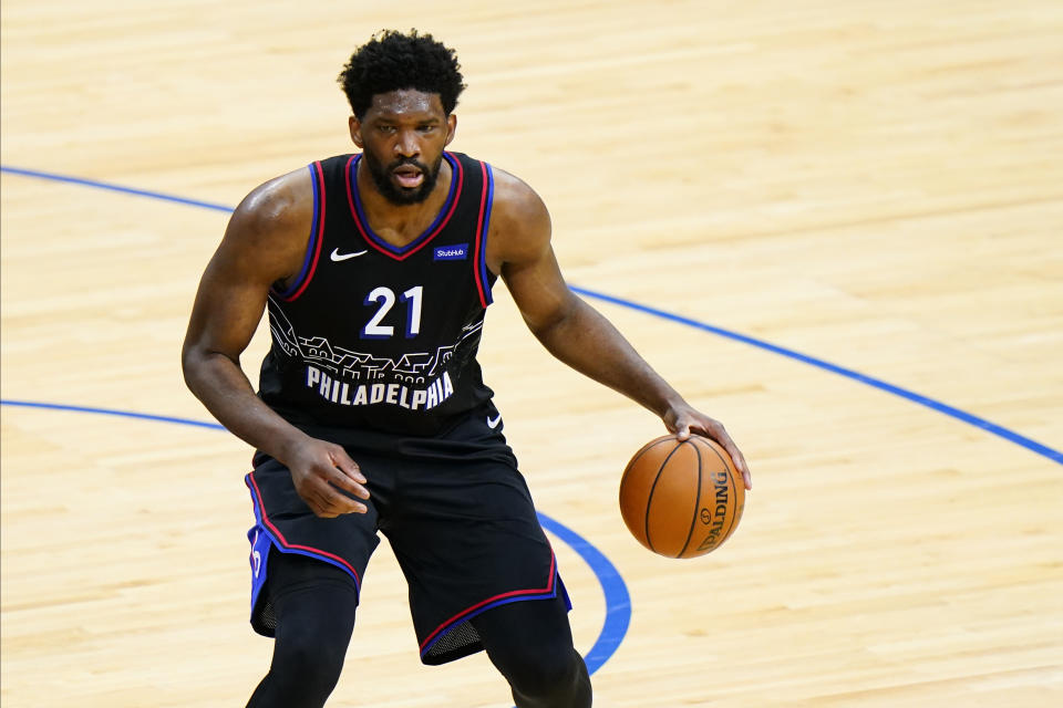 Philadelphia 76ers' Joel Embiid plays during Game 2 in a first-round NBA basketball playoff series against the Washington Wizards, Wednesday, May 26, 2021, in Philadelphia. (AP Photo/Matt Slocum)