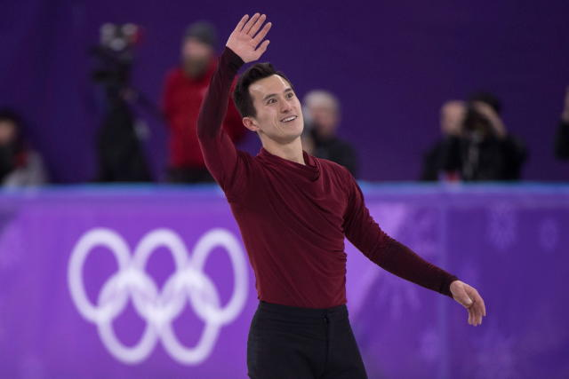 FILE - In this Feb. 17, 2018, file photo, Canada's Patrick Chan waves to the crowd following his performance in the men's figure skating free program at the 2018 Olympic Winter Games, in Gangneung, South Korea. Chan, who won his long-awaited Olympic gold as part of the team event at the Pyeongchang Olympics, is retiring after more than a decade on the world stage. Chan made his decision official Monday, April 16, 2018, after alluding to it during the Winter Games.(Paul Chiasson/The Canadian Press via AP, FIle)