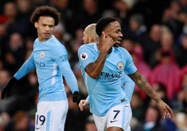 Raheem Sterling emulates Gabriel Jesus' signature celebration. (Reuters)