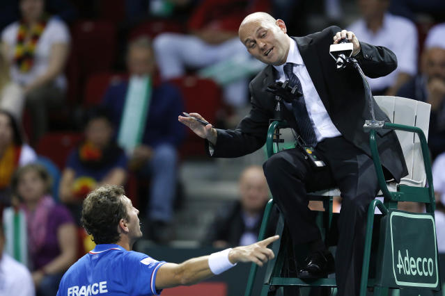 Umpire Gianluca Moscarella of Italy is under investigation for lewd remarks to a ball girl. (REUTERS/Vincent Kessler)