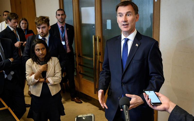 Foreign Secretary Jeremy Hunt delivers a statement on the sideline of the World Health Assembly at the United Nations Offices in Geneva. - AFP
