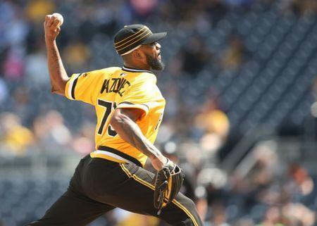 May 20, 2018; Pittsburgh, PA, USA; Pittsburgh Pirates relief pitcher Felipe Vazquez (73) pitches against the San Diego Padres during the ninth inning at PNC Park. The Padres won 8-5. Mandatory Credit: Charles LeClaire-USA TODAY Sports