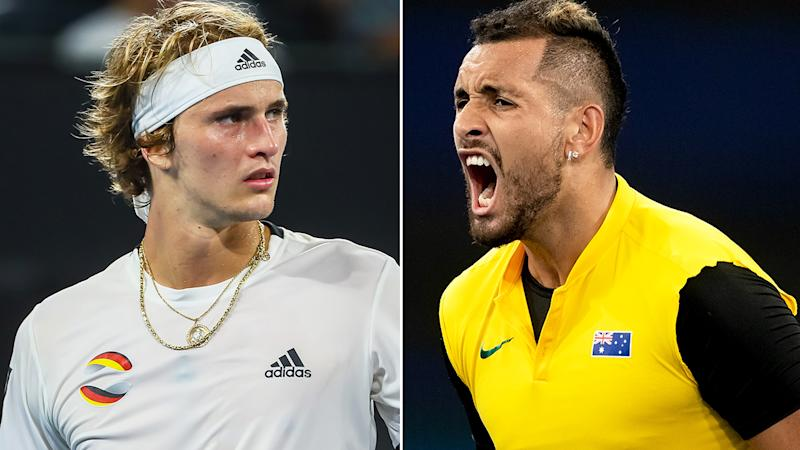 Alexander Zverev has taken a swipe at Nick Kyrgios ahead of the Australian Open, declaring the Canberra native is not ready to win a Grand Slam. Pictures: Getty Images