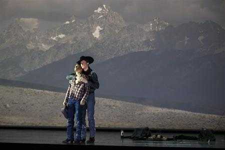 "American tenor Tom Randle (Jack Twist) (L), and Canadian bass-baritone Daniel Okulitch (Ennis del Mar), perform during a dress rehearsal of the opera ""Brokeback Mountain"" at the Teatro Real in Madrid, January 24, 2014. REUTERS/Paul Hanna"