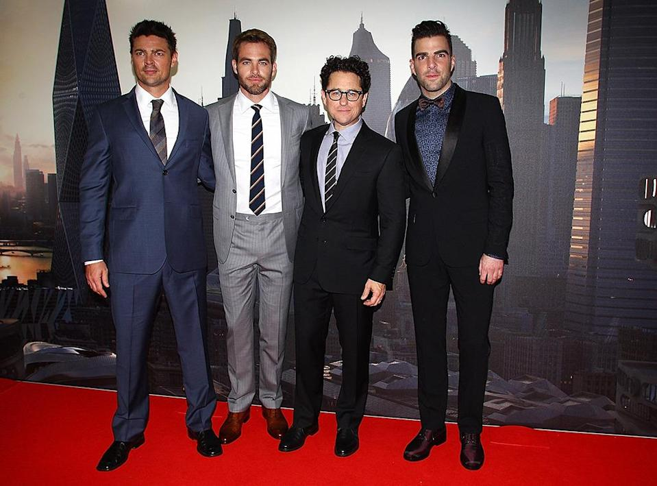 <p>Karl Urban, Chris Pine, director J.J. Abrams, and Zachary Quinto in Sydney on April 23, 2013.<i> (Photo: Marianna Massey/Getty Images)</i></p>