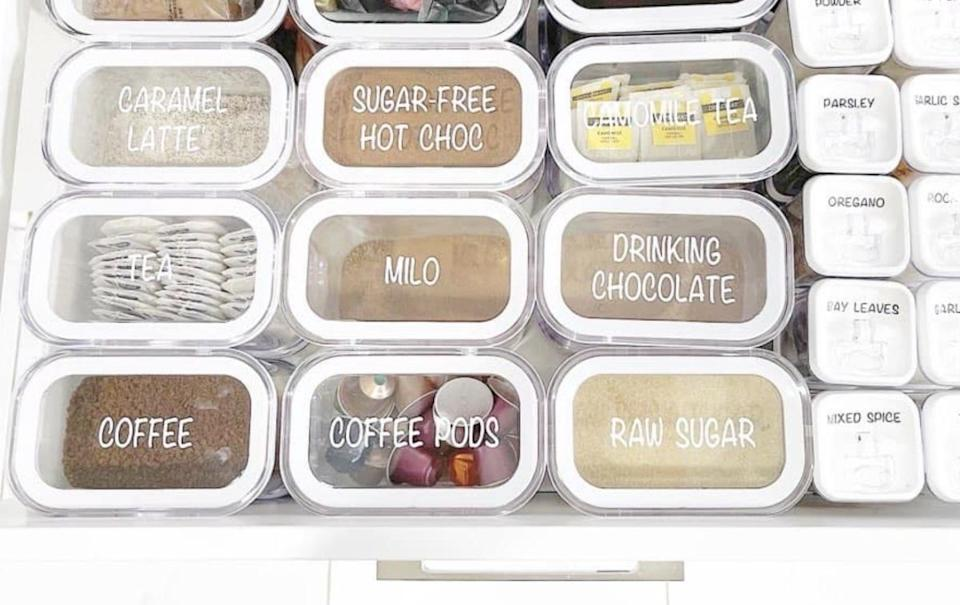 home containers labelled