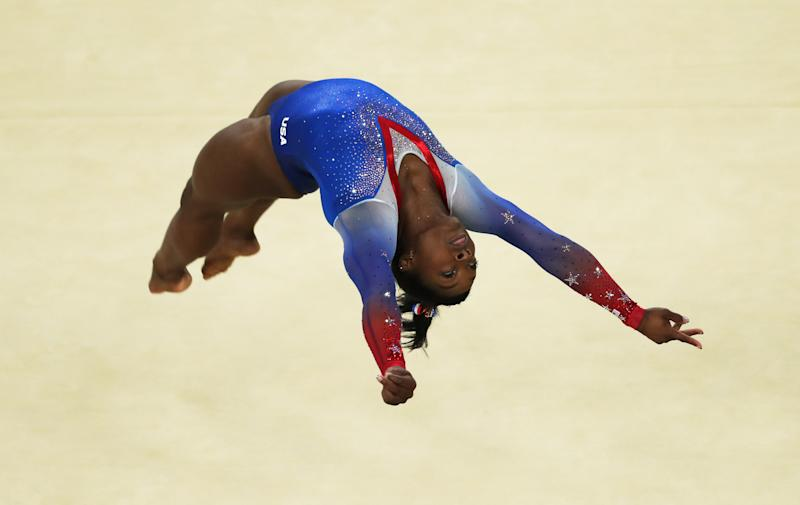 Simone Biles at the Rio games in 2016. (Photo by Ian MacNicol/Getty Images)