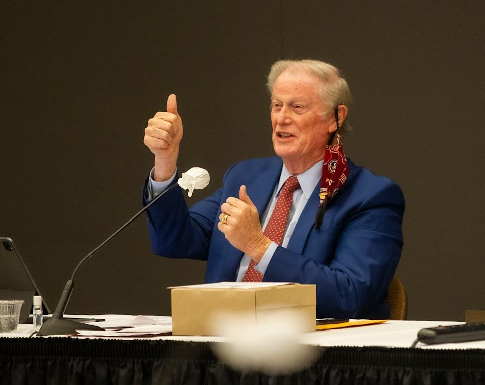 Florida State University President John Thrasher gave a thumbs up to the prognosis of he and his wife, Jean, after they were diagnosed with COVID-19.