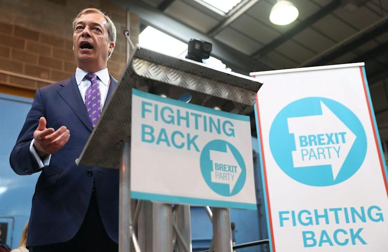 Nigel Farage's new party have taken the lead in EU election polls (Getty)
