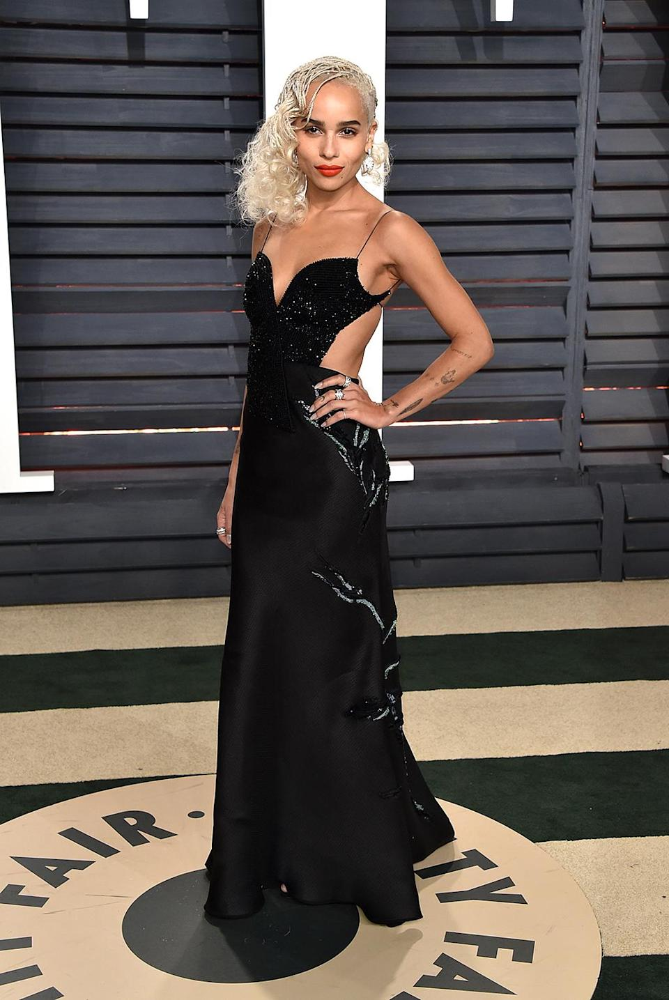 <p>Zoe Kravitz attends the 2017 Vanity Fair Oscar Party hosted by Graydon Carter at Wallis Annenberg Center for the Performing Arts on February 26, 2017 in Beverly Hills, California. (Photo by John Shearer/Getty Images) </p>
