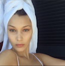 """<p>Though Bella captioned this Instagram claiming that the, """"Bags are real today,"""" all we see is flawless skin.</p>"""