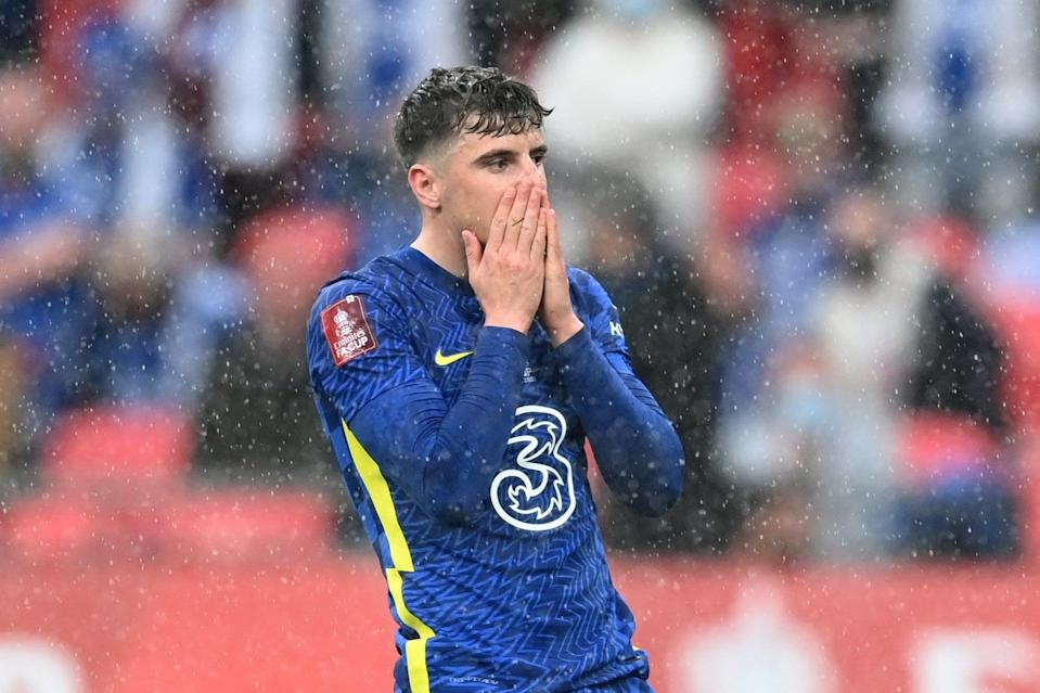 <p>Chelsea's Mason Mount was denied by a superb Kasper Schmeichel save at Wembley</p> (The FA via Getty Images)