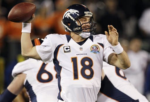 Denver Broncos quarterback Peyton Manning throws against the Oakland Raiders during the first quarter of an NFL football game in Oakland, Calif., Thursday, Dec. 6, 2012. (AP Photo/Ben Margot)
