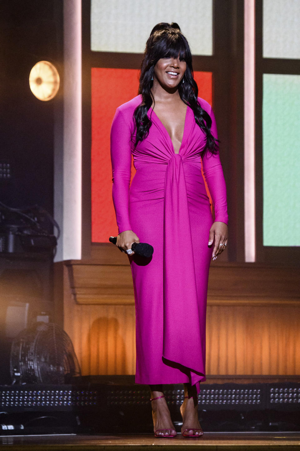 Mickey Guyton attends the 56th annual Academy of Country Music Awards on Friday April 16, 2021 at the Ryman Auditorium in Nashville, Tenn. The awards show airs on April 18 with both live and prerecorded segments. (Photo by Amy Harris/Invision/AP)