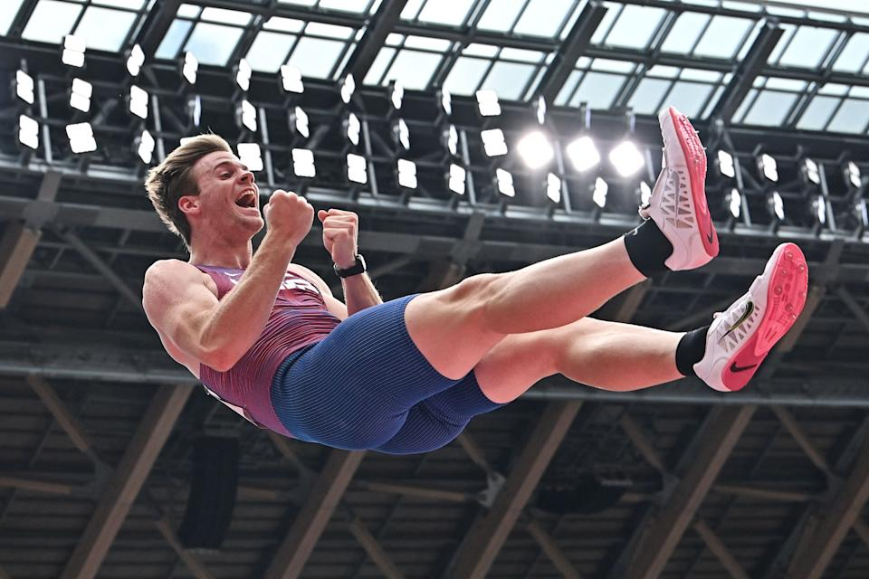 <p>USA's Christopher Nilsen react while competing in the men's pole vault qualification during the Tokyo 2020 Olympic Games at the Olympic Stadium in Tokyo on July 31, 2021. (Photo by Ben STANSALL / AFP) (Photo by BEN STANSALL/AFP via Getty Images)</p>