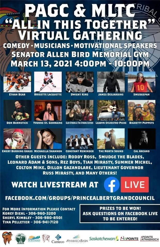 'All in this together' is the theme of a virtual event to be held by the Prince Albert Grand Council and Meadow Lake Tribal Council.