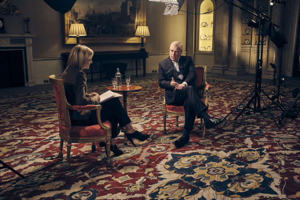 """For use in UK, Ireland or Benelux countries only Undated BBC handout photo showing the Duke of York , speaking for the first time about his links to Jeffrey Epstein in an interview with BBC Newsnight's Emily Maitlis. The Queen gave her approval for the Duke's """"disastrous"""" interview about the Jeffrey Epstein sex scandal, Maitlis has said."""