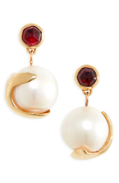 """<br><br><strong>Faris</strong> Pomme Pearl Drop Earrings, $, available at <a href=""""https://go.skimresources.com/?id=30283X879131&url=https%3A%2F%2Fwww.nordstrom.com%2Fs%2Ffaris-pomme-pearl-drop-earrings%2F5484542"""" rel=""""nofollow noopener"""" target=""""_blank"""" data-ylk=""""slk:Nordstrom"""" class=""""link rapid-noclick-resp"""">Nordstrom</a>"""
