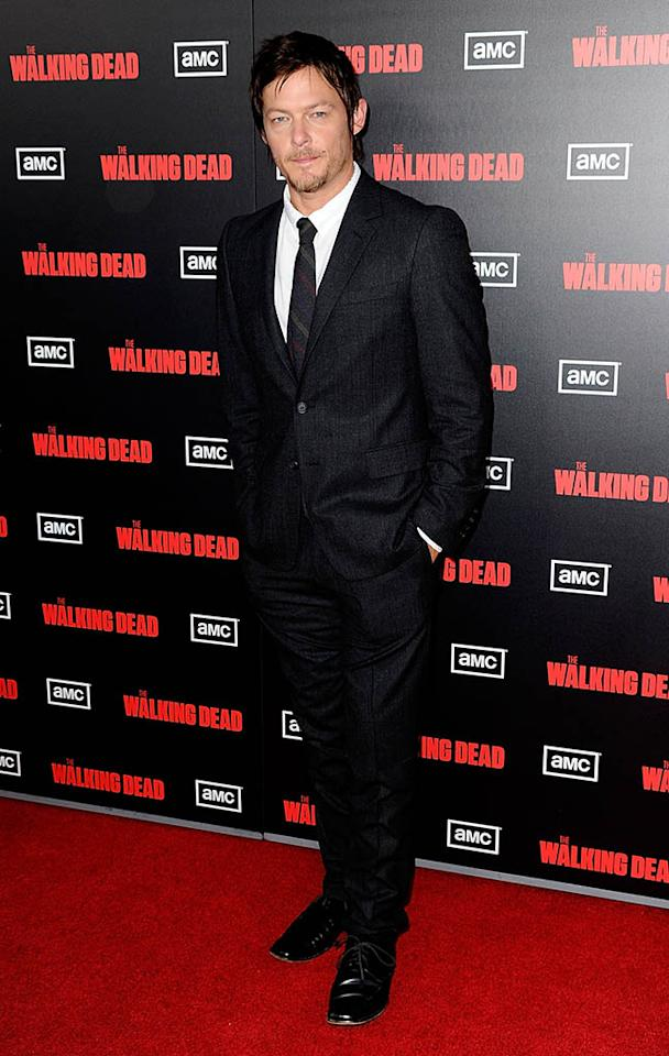 """Norman Reedus arrives at the premiere of AMC's """"The Walking Dead"""" 2nd Season at LA Live Theaters on October 3, 2011 in Los Angeles, California."""
