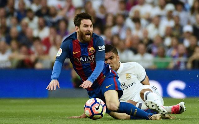 <span>Casemiro stops Messi in his tracks</span> <span>Credit: AFP </span>